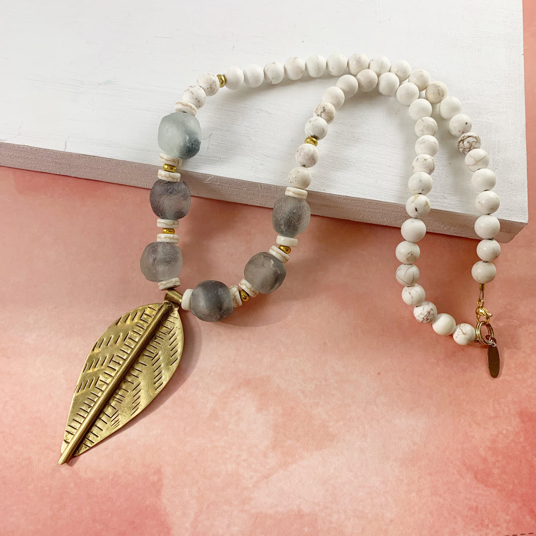 Brass Leaf Chunky Necklace