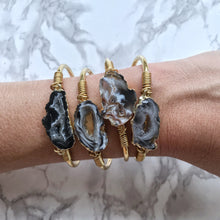 Load image into Gallery viewer, Agate Slice Cuff, silver or gold