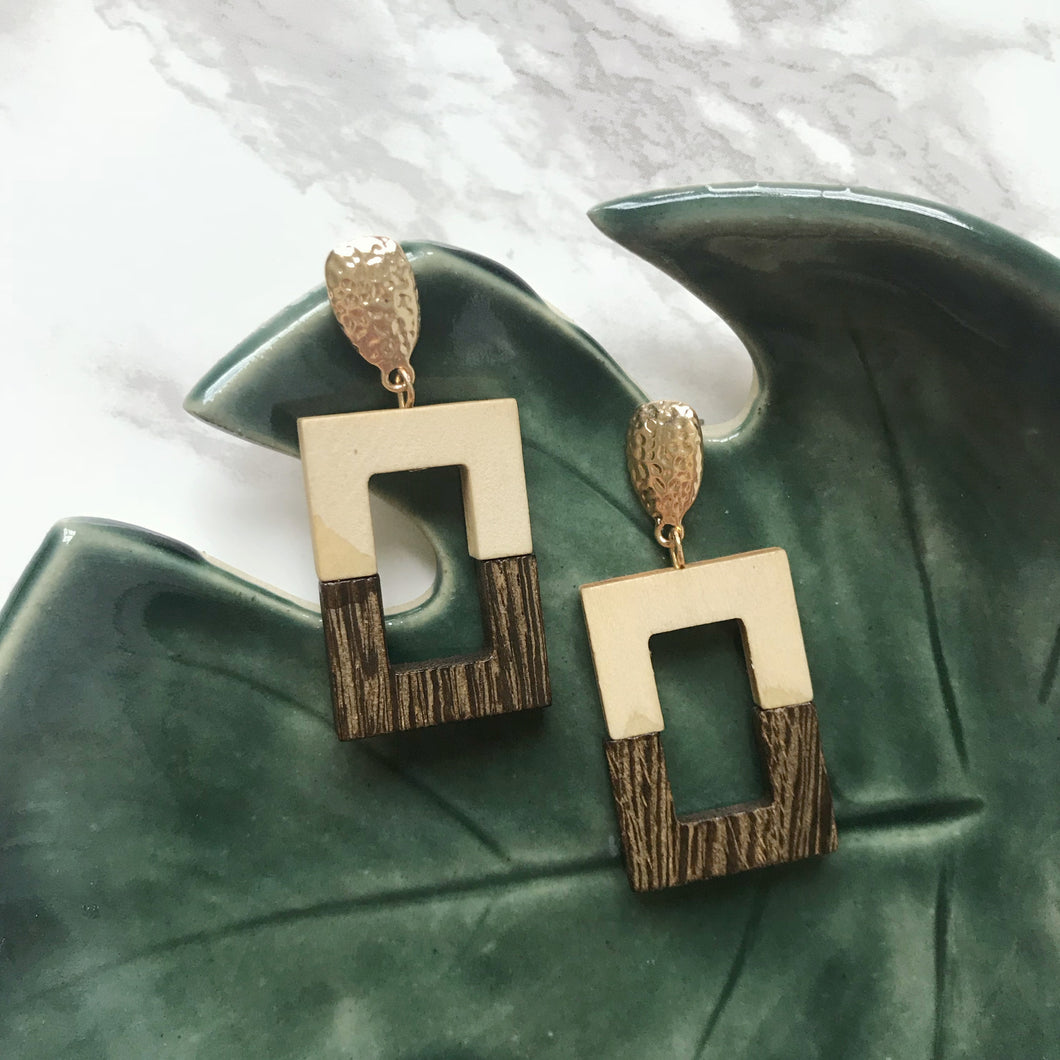 Two Tone Wooden Earrings