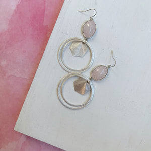 Rose Quartz Silver Hoops