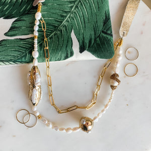 HBIC Gold and Pearl Leather Necklace