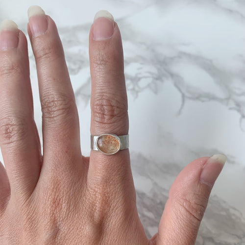 Glittery Sunstone Ring size 6.5
