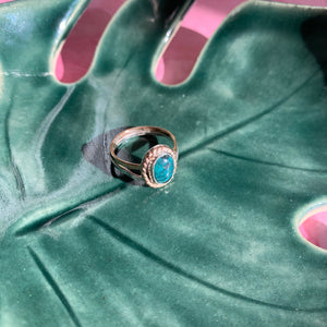 Mixed Metal Hubei Turquoise Ring size 6