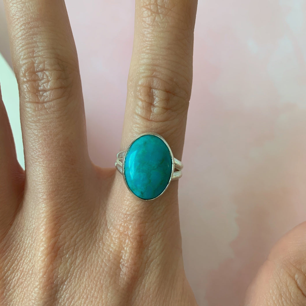 Large Arizona Turquoise Statement Ring size 7