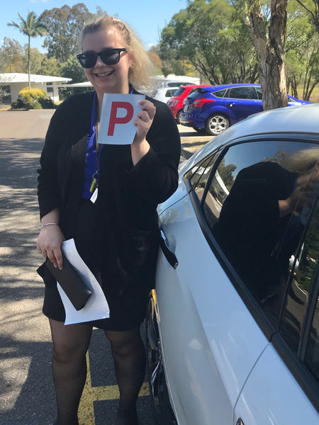 Sharni is on the road to P plate happiness