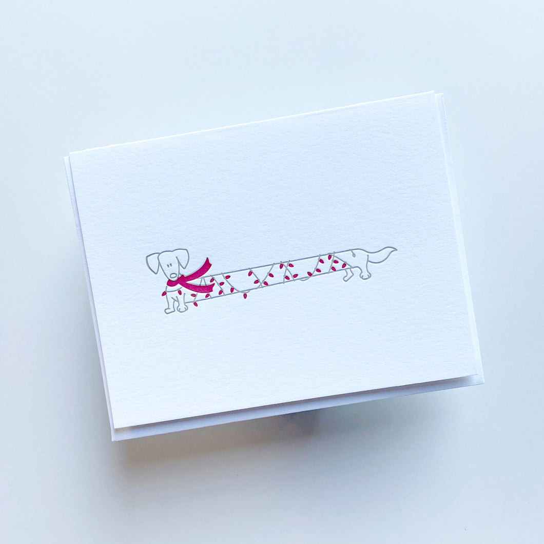 Doxie Christmas Lights Card