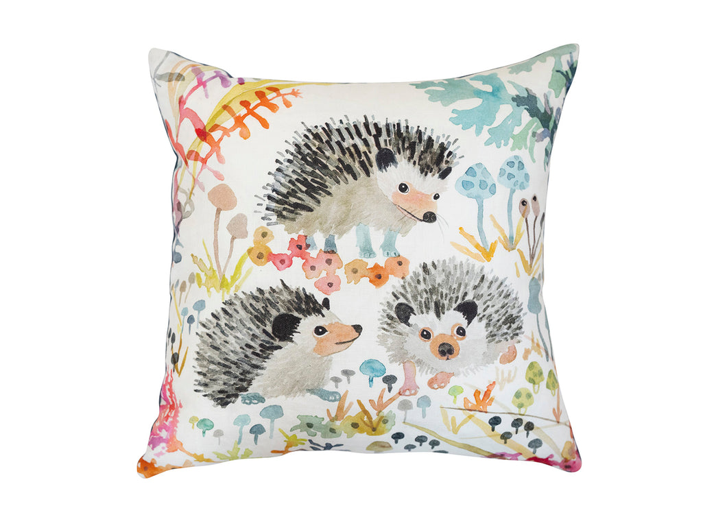 Hedgehogs Pillow in White