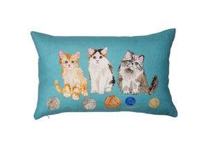 Kittens Pillow with Natural Linen