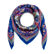 Load image into Gallery viewer, Liberty London Peacock Garden 70 x 70cm Silk Twill Scarf