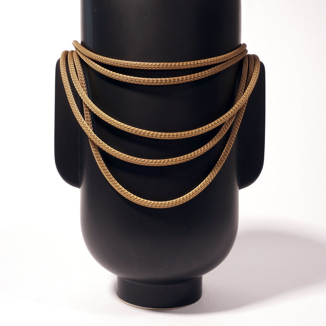 5 Strand Graduated Knit Chain Necklace