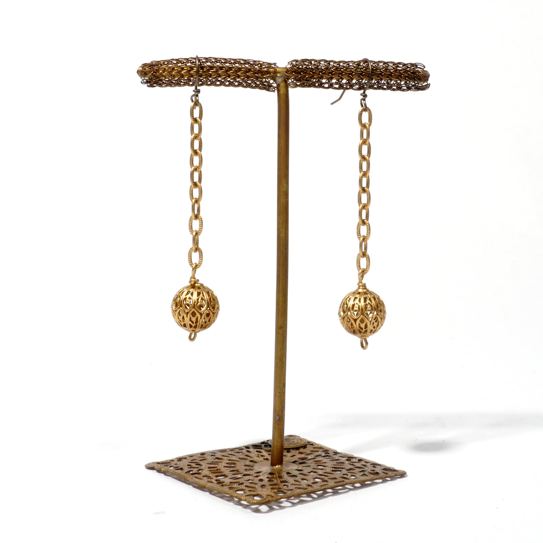 Filigree Ball Drop Earring