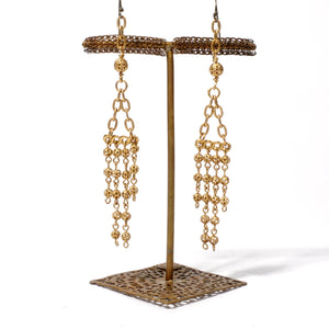 Filigree Earring with Long Beadchain Tassels