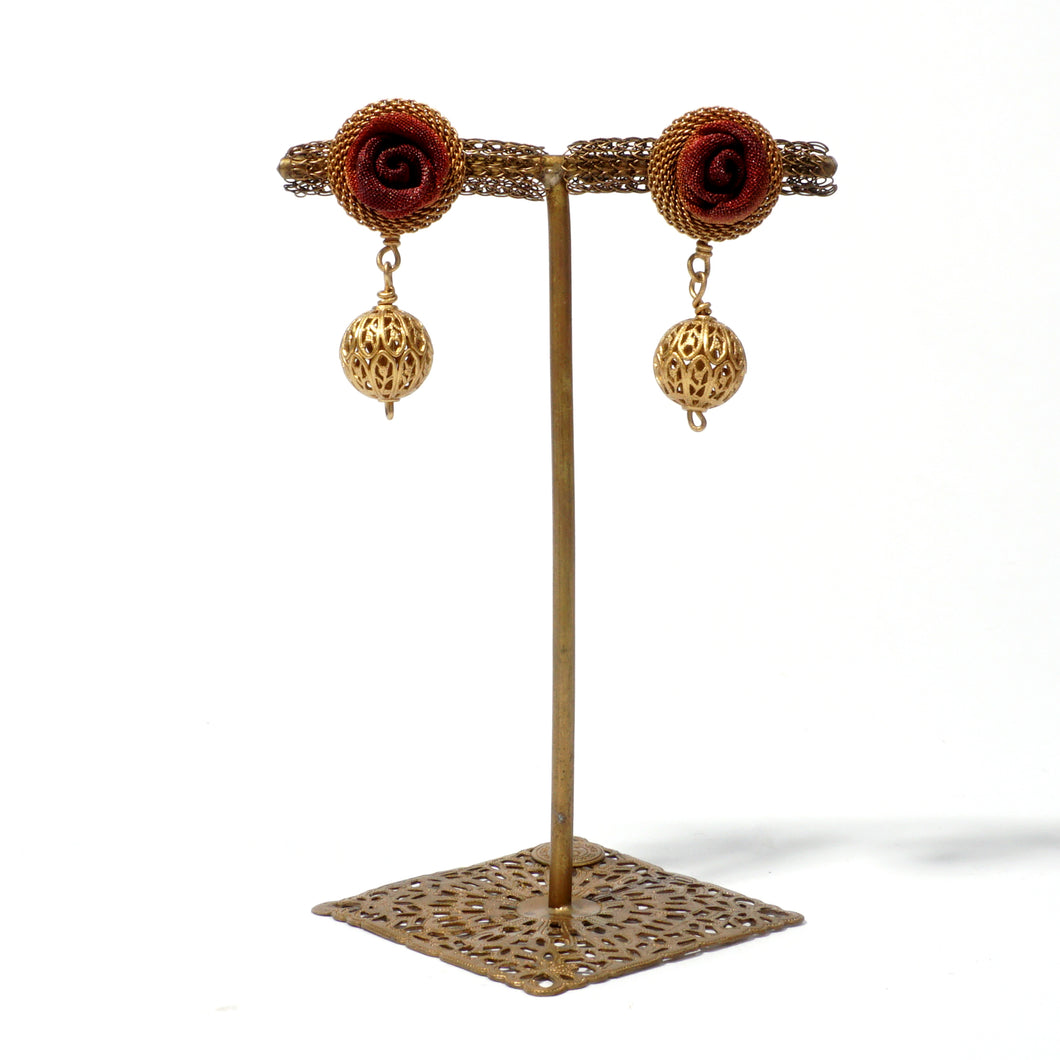 Rosebud Earring with Filigree Bead