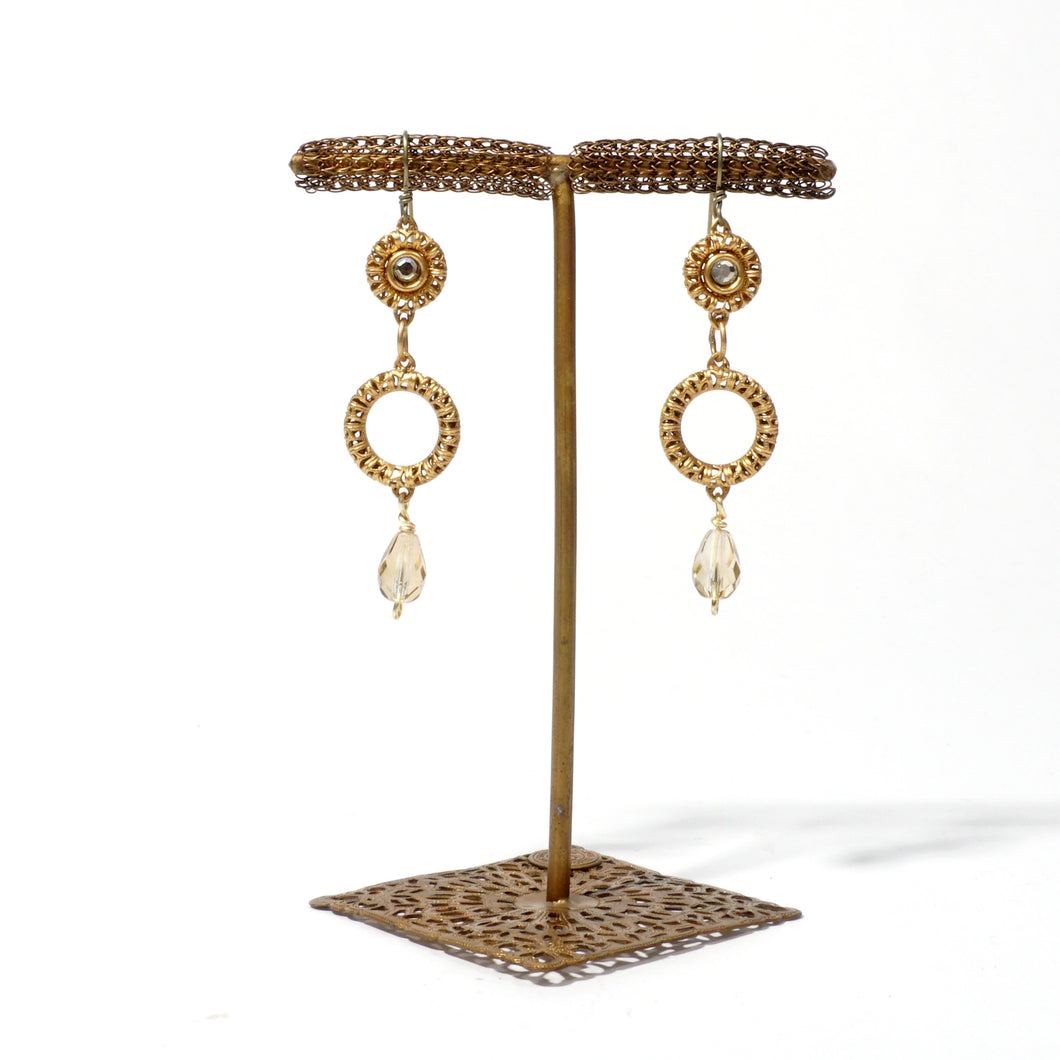 Filigree Ring Earring with Stone and Drop