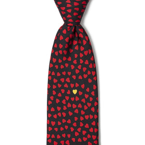 Heart of Gold Tie-Black Silk