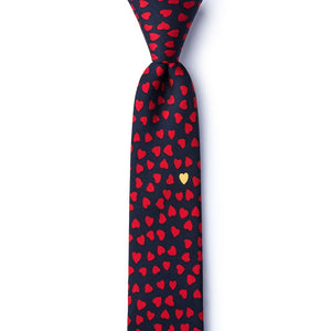 Heart of Gold Skinny Tie-Navy Blue Silk