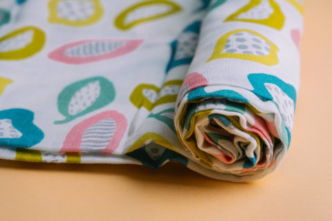 Fruits and Seeds Muslin Cotton Swaddles for Baby wrap and Toddlers. Versatile blankets that can be used as breasteeding covers, stroller covers, towels and changing mat.