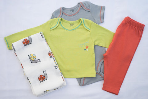 Snails Swaddle + T-shirt, Onesie, and Pant
