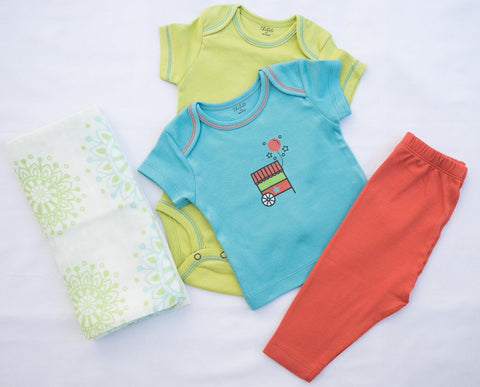 Mandala Aqua Flower Swaddle + T-shirt, Onesie, and Pant