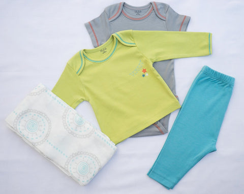 Mandala Aqua Circle Swaddle+ T-shirt, Onesie, and Pant