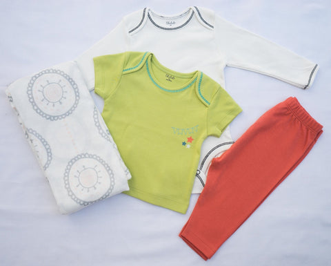 Mandala Pastel Circle Swaddle + T-shirt, Onesie, and Pant