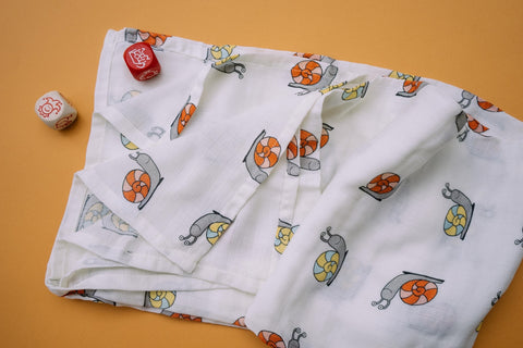 Snail Muslin Cotton Swaddles for Baby wrap. Versatile blankets that can be used as breasteeding covers, stroller covers, towels and changing mat.