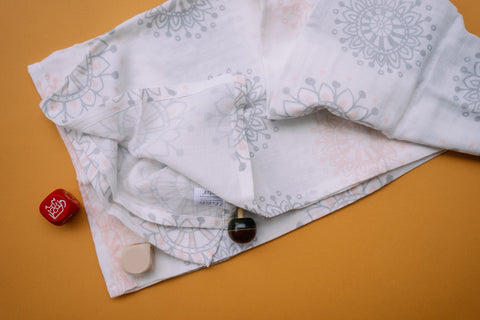 Mandala Muslin Cotton Swaddles for Baby wrap. Versatile blankets that can be used as breasteeding covers, stroller covers, towels and changing mat.