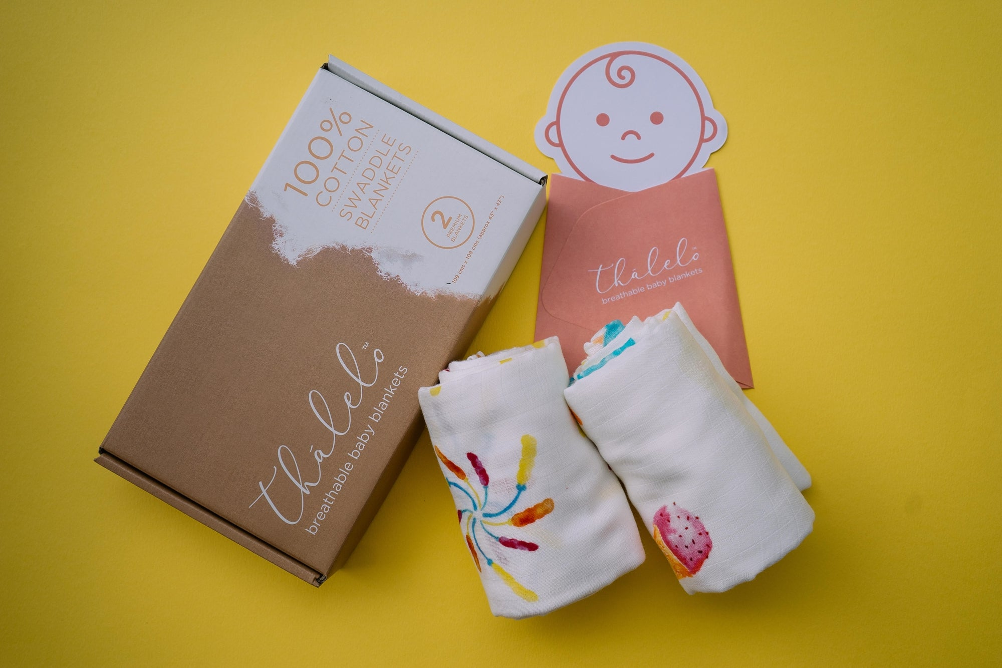 Cute Muslin Cotton  Swaddle Set. Baby gift set for baby boy and baby girl