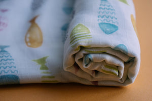Fishes Muslin Cotton Swaddles for Baby wrap and Toddlers. Versatile blankets that can be used as breasteeding covers, stroller covers, towels and changing mat.
