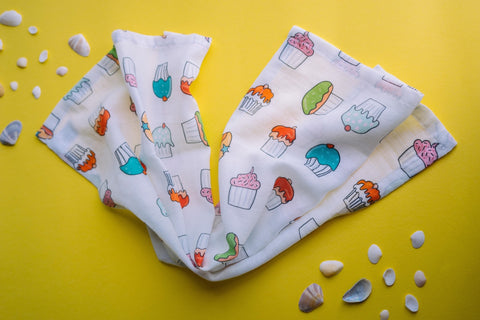 Cupcake Muslin Cotton Lovey for Baby. Washcloth or burpcloth