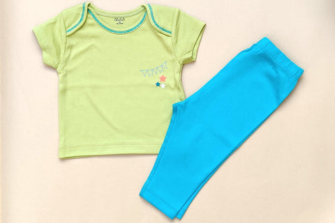 Thālelo Half Sleeve T-shirt and Pant Set- Green and Blue