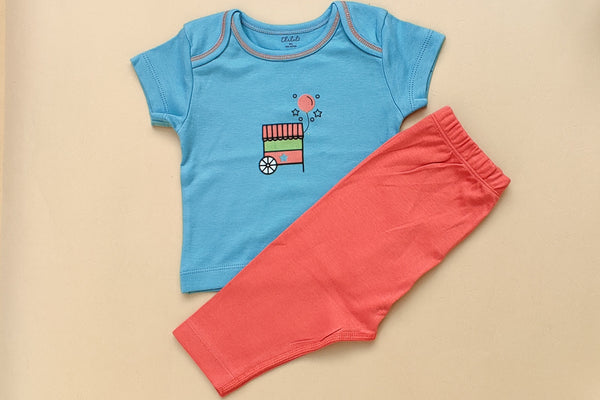 Cotton Half Sleeve T-shirt and Pant Set; Food Cart