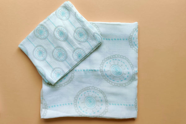 "Mandala Aqua Circles Muslin Swaddles (Set of 2; 43""x43"" and 24""x15"")"