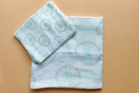 Thālelo Mandala Aqua Circles Set of 2 Muslin Swaddles (Medium and Small)