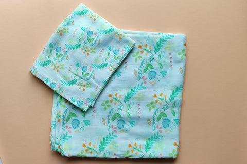 Foliage Muslin Cotton Swaddle with Foliage Lovey. Cotton Muslin Washcloth or Burpcloth