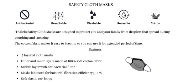 Thālelo Cotton Safety Face Mask with Bacterial Filter Set of 3 Colours