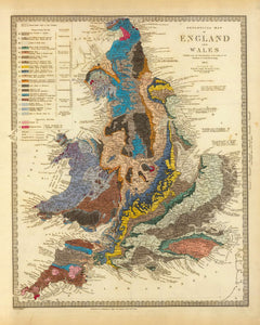 England Face Mask / Neck Gaiter - with vintage geological map of England & Wales by Roderick Impey Murchison, 1843