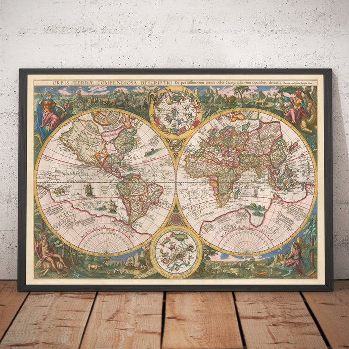Old World Map, 1596, Atlas Map by Johannes Baptista Vrients - Personalised Antique Vintage Christmas Gift Wall Art - Framed, Unframed