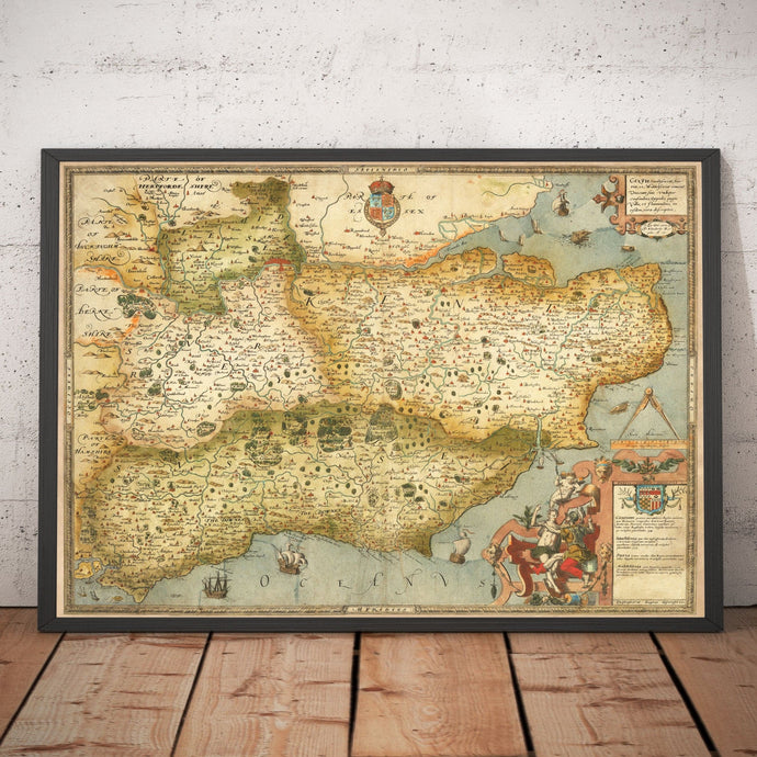 Old Map of Southeast England in 1575 - London, Kent, Sussex, Surrey, Middlesex - Vintage, Antique Wall Art - Framed or Unframed - Large Maps