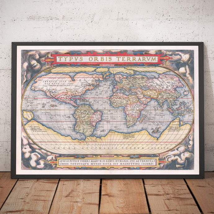 Old World Map, 1570 - The First World Atlas - by Abraham Ortelius - Personalised Antique Vintage Christmas Gift Wall Art - Framed, Unframed