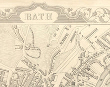 Load image into Gallery viewer, Bath Face Mask / Neck Gaiter with vintage map print of Bath by John Rapkin, 1851