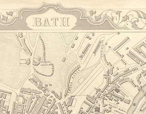 Bath Face Mask / Neck Gaiter with vintage map print of Bath by John Rapkin, 1851