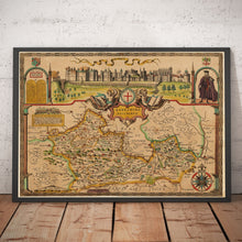 Load image into Gallery viewer, Old Map of Berkshire, 1611, John Speed - Reading, Slough, Bracknell, Maidenhead - Vintage Wall Art, Antique Windsor Map - Framed or Unframed