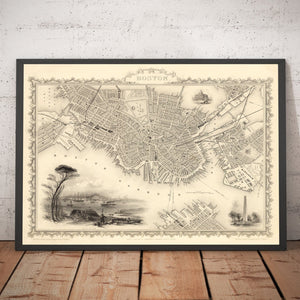Old Map of Boston, Massachusetts in 1851 by Tallis & Rapkin - Antique Vintage City Wall Art - Christmas, Birthday Gift - Framed or Unframed