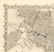 Load image into Gallery viewer, Old Map of Boston, Massachusetts in 1851 by Tallis & Rapkin - Antique Vintage City Wall Art - Christmas, Birthday Gift - Framed or Unframed