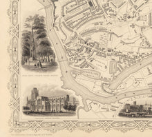 Load image into Gallery viewer, Old Map of Bristol in 1851 by Tallis & Rapkin - Clifton, Temple Meads, Castle, Redcliffe - Christmas or Birthday Gift - Framed or Unframed