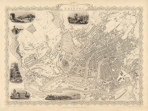 Old Map of Bristol in 1851 by Tallis & Rapkin - Clifton, Temple Meads, Castle, Redcliffe - Christmas or Birthday Gift - Framed or Unframed