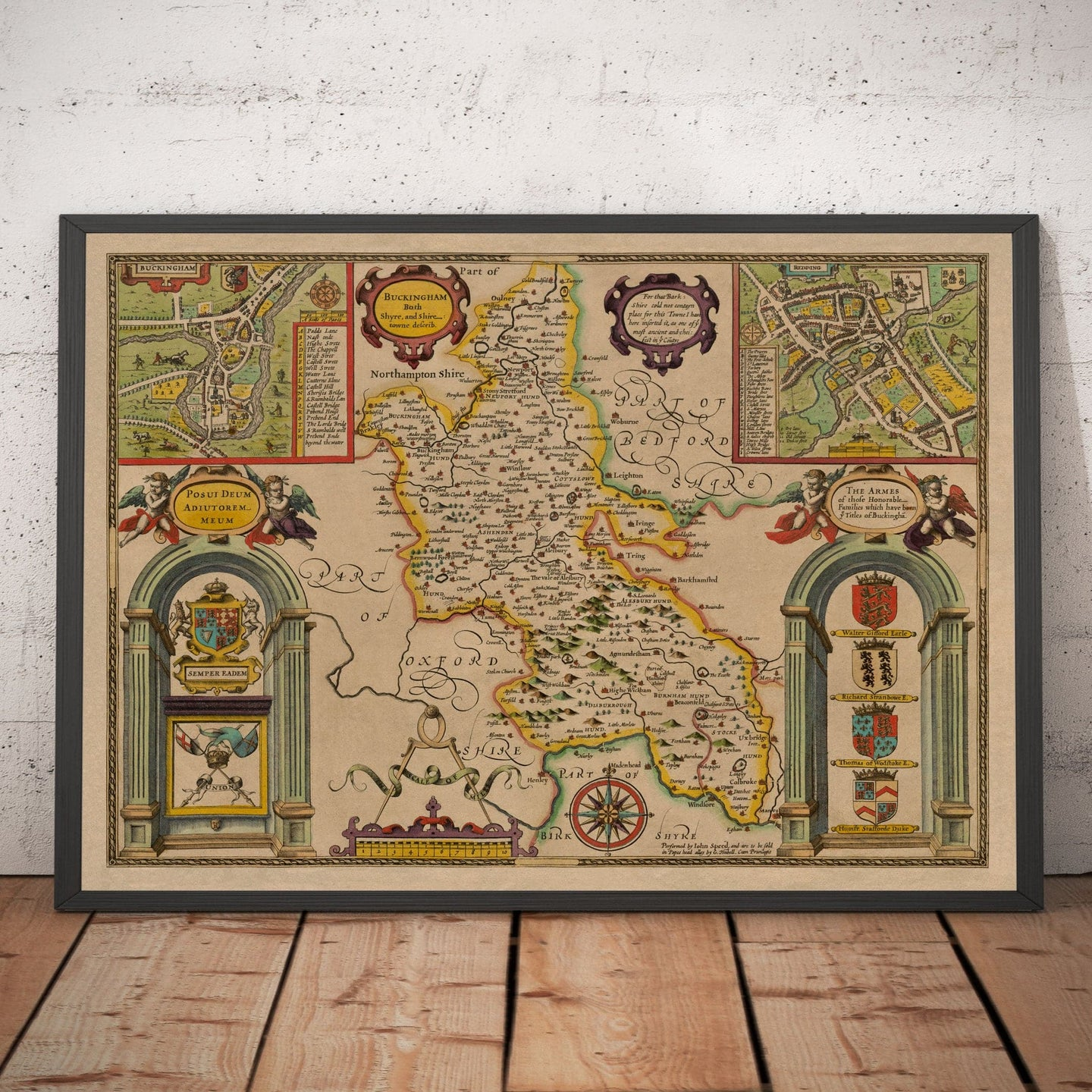 Old Map of Buckinghamshire in 1611 by John Speed - High Wycombe, Amersham, Buckingham, Milton Keynes - Christmas Gift - Vintage Map - Framed, Unframed
