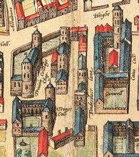Load image into Gallery viewer, Cambridge Tote Bag with historic map of Cambridge (Cantebrigia) and its old colleges in 1575 by George Braun