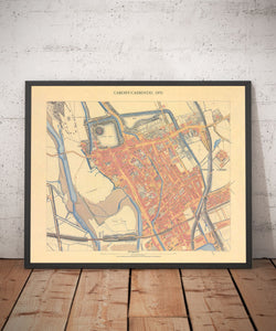 Ordnance Survey map of Cardiff, 1851 - Framed or Unframed
